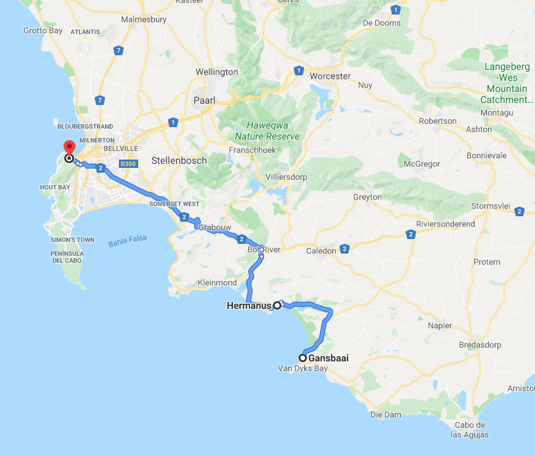 Mapa del sur oeste de Sudáfrica
