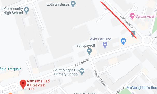 Mapa estacionamiento Edimburgo