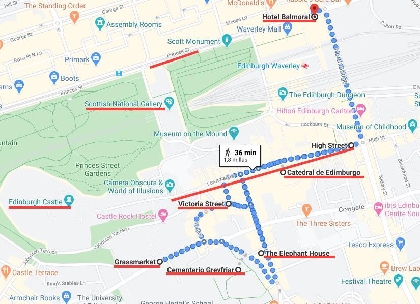 Mapa cel centro de Edimburgo