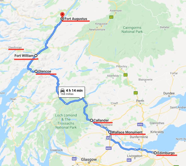 Mapa ruta de Edimburgo a Fort Augustus