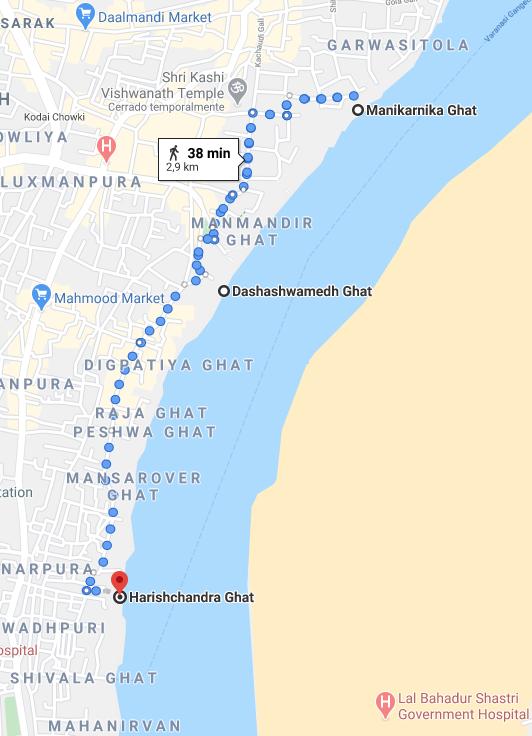 Mapa de los Ghats principales