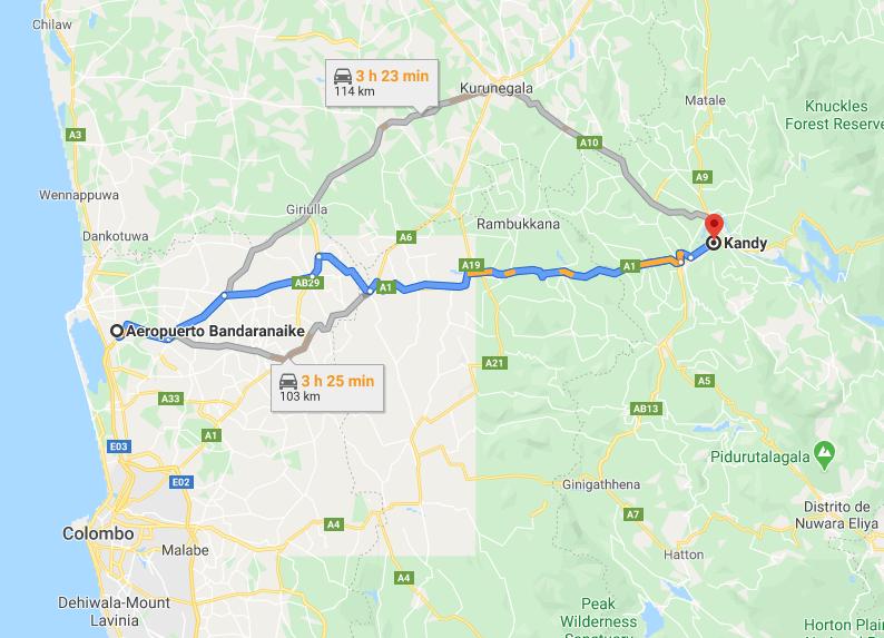 Mapa-aeropuerto-Colombo-a-Kandy