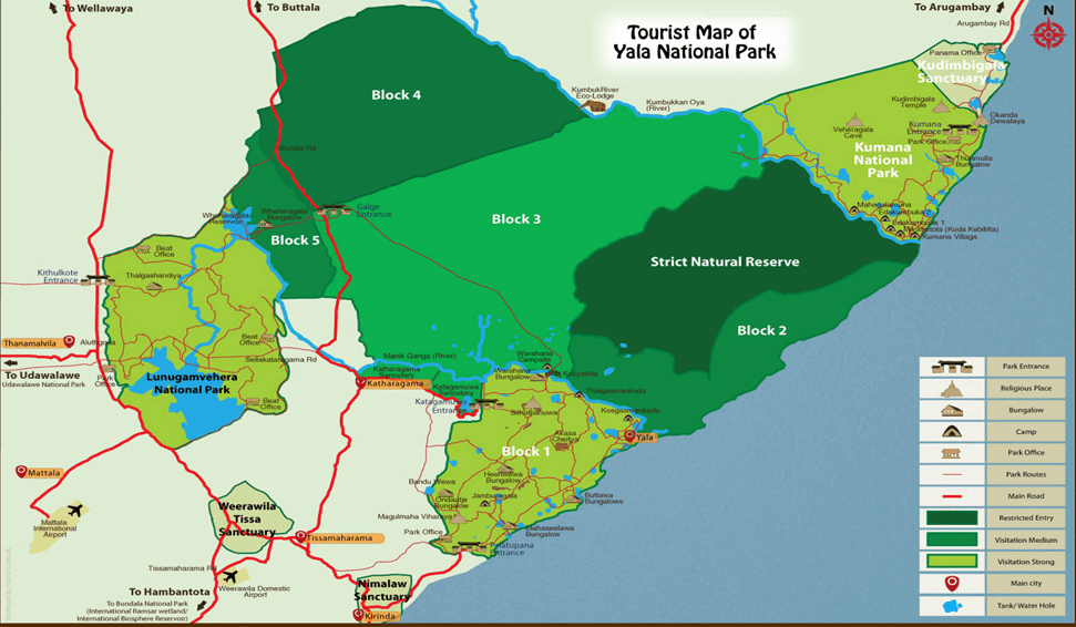 Mapa del Parque Nacional de Yala