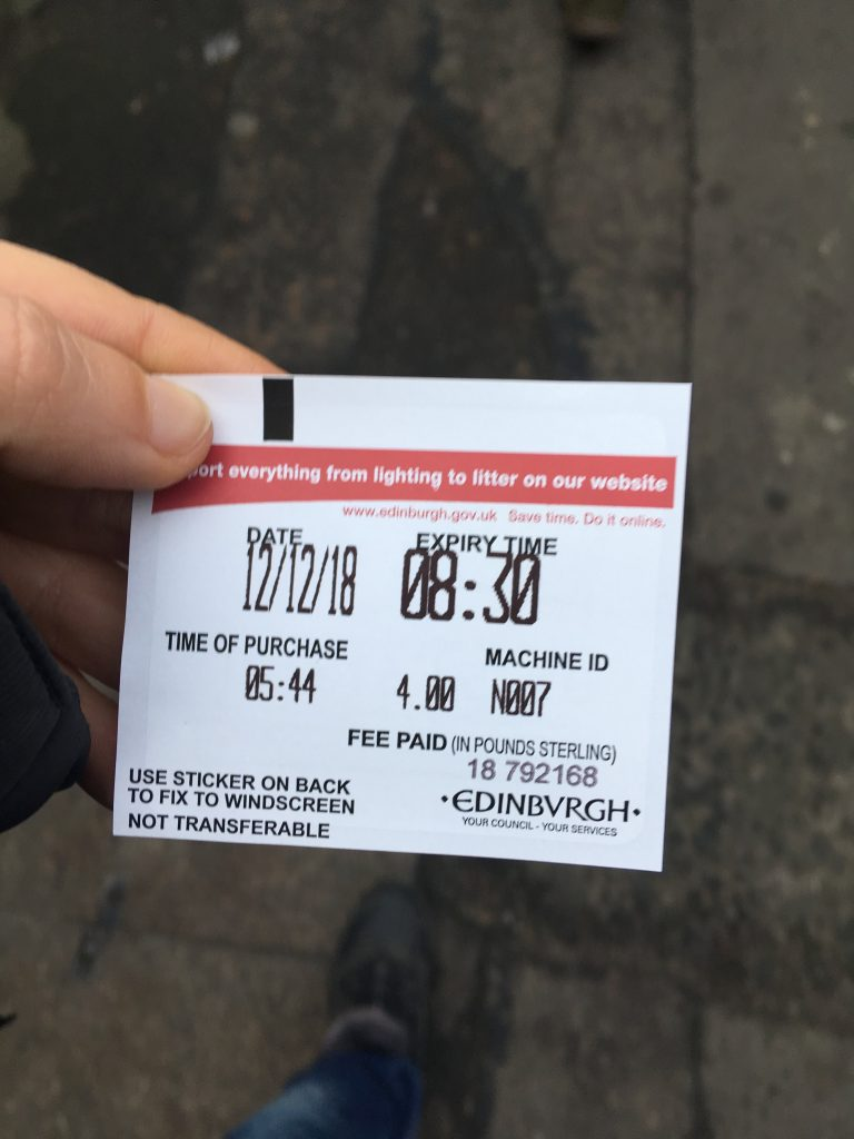 Ticket Estacionamiento Edimburgo