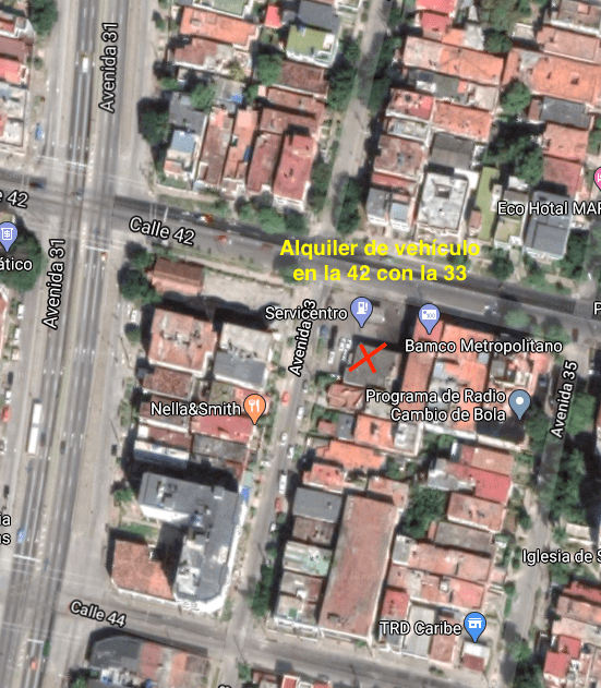 Mapa Alquiler de vehículo en Cuba