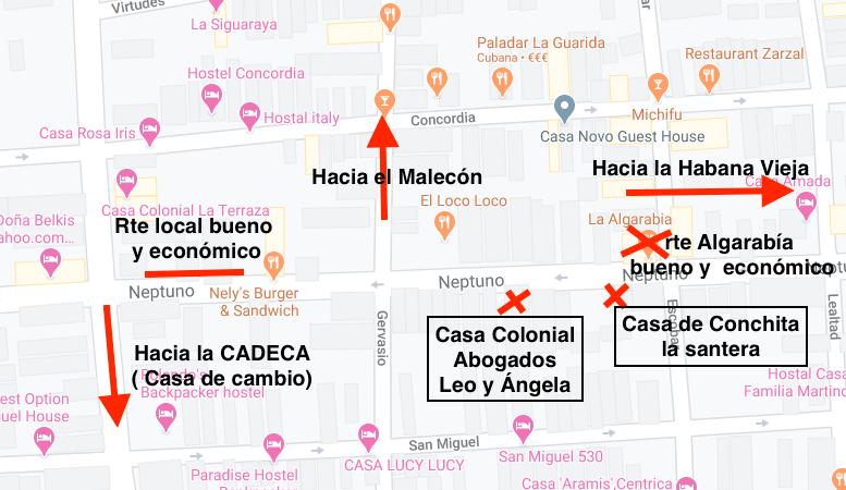 Mapa general centro Habana Cuba