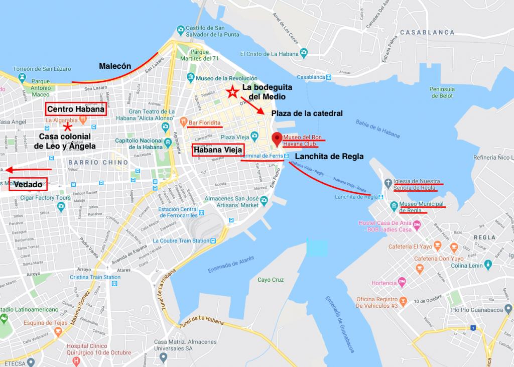 Mapa barrios de la Habana