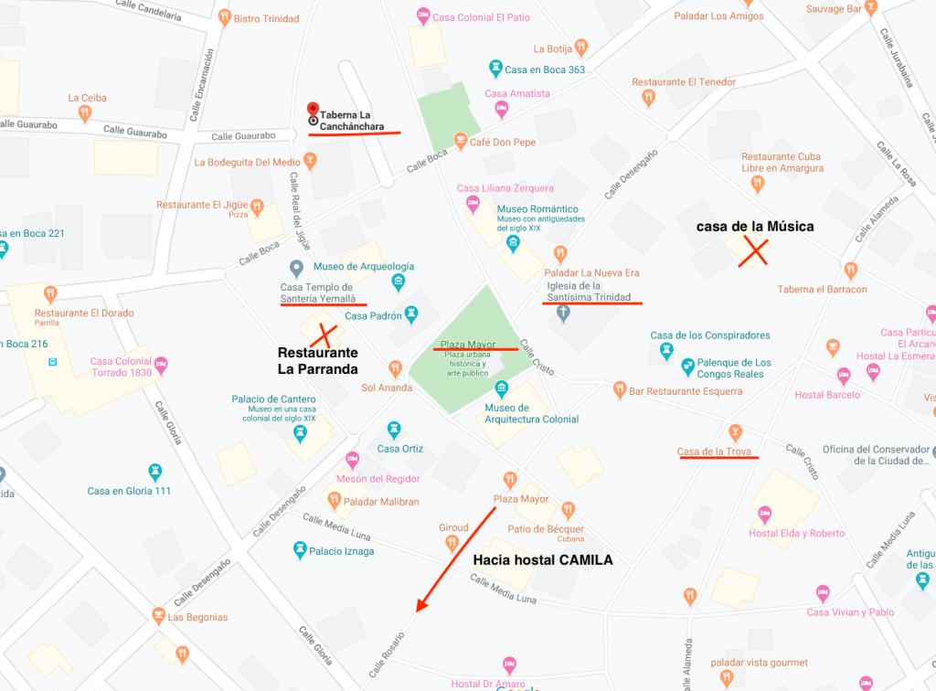 Mapa sitios de interés en Trinidad