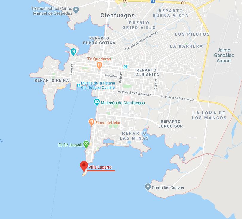 Mapa de Cienfuegos y situación del Rte Villa Lagarto